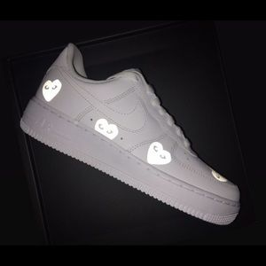 Custom reflective hearts Nike Air Force 1